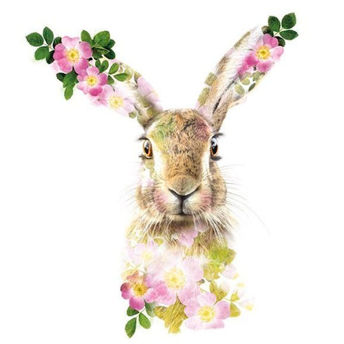 Lola Designs Ltd Greetings Card - A Wildlife Botanical Hare Greeting Card