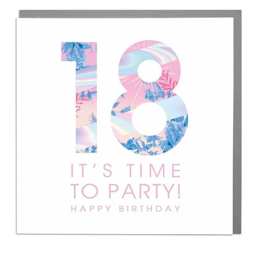 Lola Designs Ltd - 18th - Its Time To Party -  Ladies Birthday Card