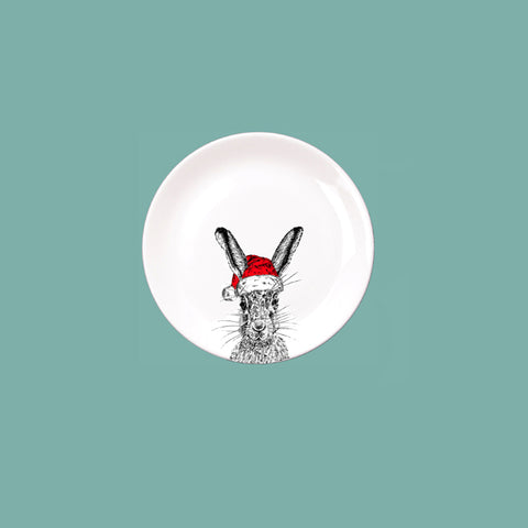Little Weaver Arts - Christmas Sassy Hare China Coaster