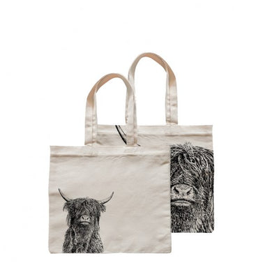 Little Weaver Arts - Crafty Coo (Highland Cow) Square Shopper Bag