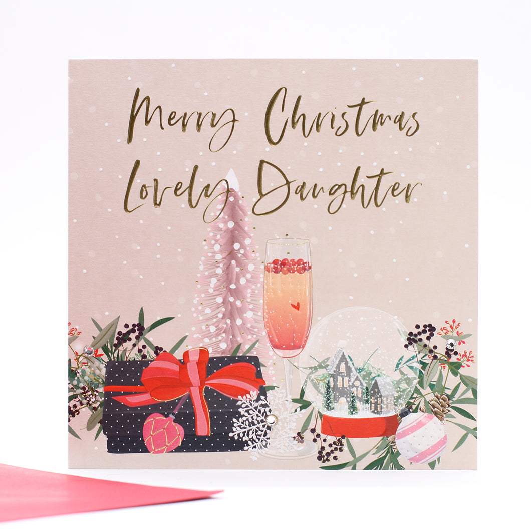 Belly Button Christmas Card - Merry Christmas Lovely Daughter