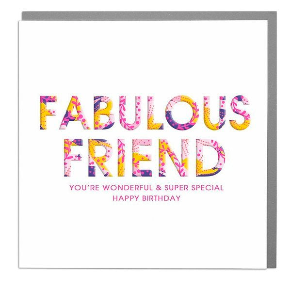 Lola Designs Ltd Greetings Card - Fabulous Friend- Hola 3d Neons