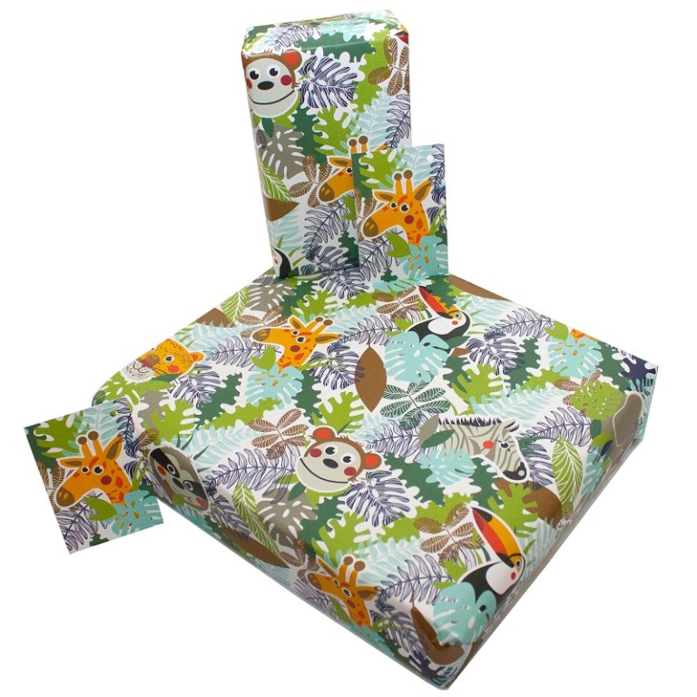 Re Wrapped Recycled Wrapping Paper -  Children's Jungle Animals by Rosie Parkinson