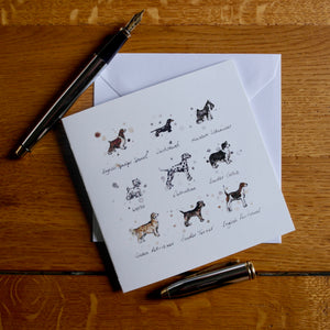 "Eleanor Tomlinson ""Breeds of Dogs"" Blank Greetings Card"