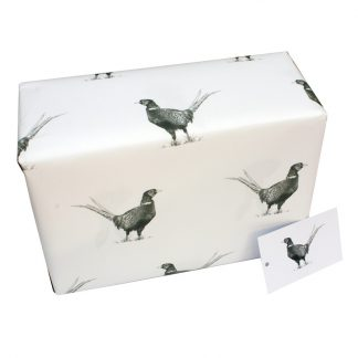 Re Wrapped Recycled Wrapping Paper - Black and White Pheasants by Sophie Botsford