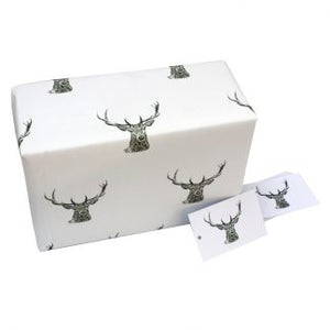 Re Wrapped Recycled Wrapping Paper - Black and White Stag by Sophie Botsford