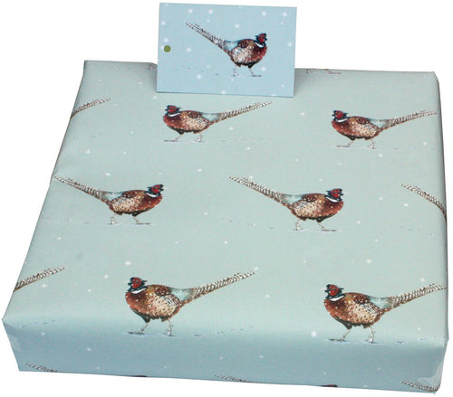 Re Wrapped Recyable Christmas Wrapping Paper  - Christmas Pheasants by Sophie Botsford