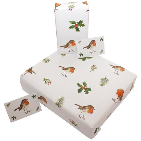Re Wrapped Recyable Christmas Wrapping Paper  - Christmas Robins and Holly by Sophie Botsford