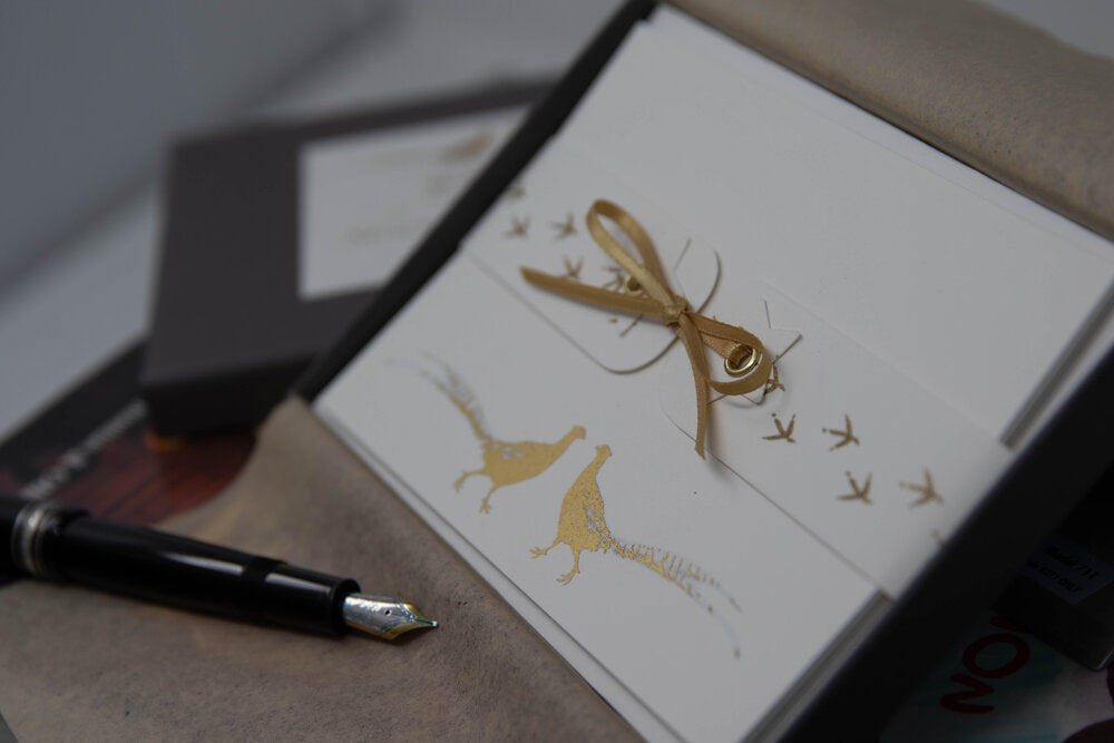Susel and Co 20 Handmade Notecards - Brace of Golden Pheasants