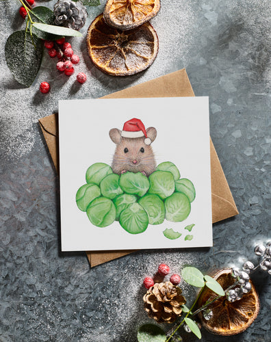 Lottie Murphy A Mouse on Brussel Sprouts Christmas Card