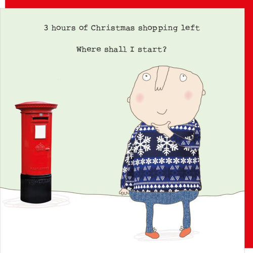 Rosie Made A Thing Christmas Card - Man Xmas Shopping