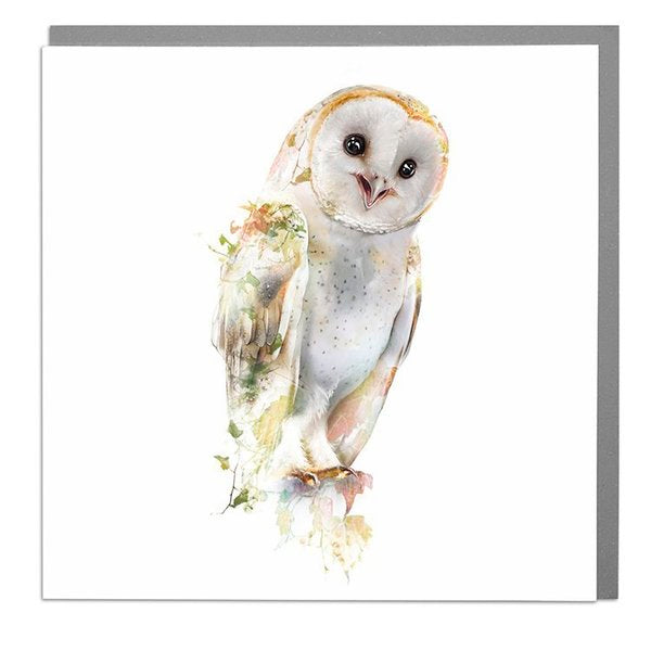 Lola Designs Ltd Greetings Card - A Wildlife Botanical Barn Owl Greeting Card