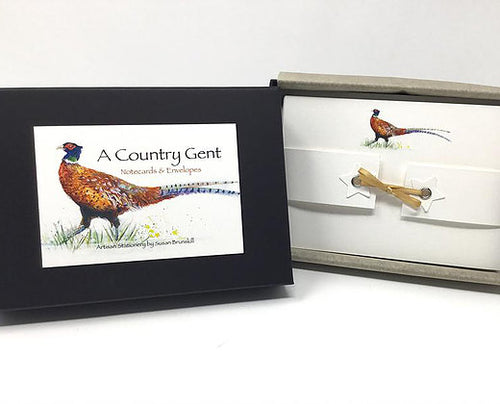Susel and Co. 20 Handmade Notecards - A Country Gent  (Pheasant)