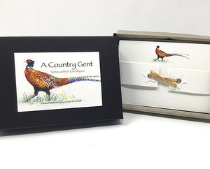 Susan Brunskill 10 Handmade Notecards - A Country Gent  (Pheasant)