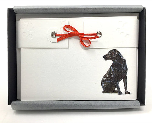 Susel and Co 20 Handmade Notecards - Black Labrador -
