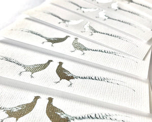 Susan Brunskill 20 Handmade Notecards - Brace of Silver Pheasants