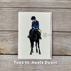 Susel and Co - A6 Blank Horse Greetings Card - Toes in, Heels Down