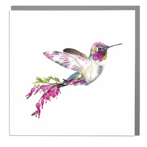 Lola Designs Ltd Greetings Card - A Wildlife Botanical Bleeding Hearts Hummingbird Greeting Card