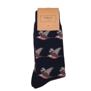Shuttlesocks North Yorkshire - Navy Flying Wood Pigeon Socks