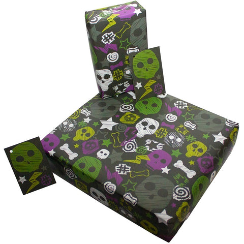 Re Wrapped Recycled Wrapping Paper - Skull and Bones by Rosie Parkinson