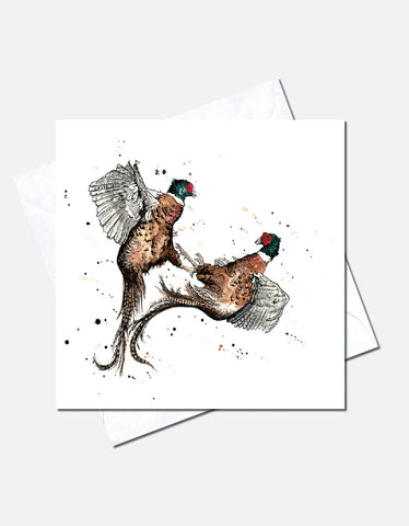 "Eleanor Tomlinson ""Rough and Tumble"" - Pheasant"" Blank Greetings Card"