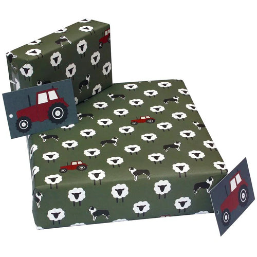 Re Wrapped Recycled Wrapping Paper - Grey sheepdogs by New Ewe