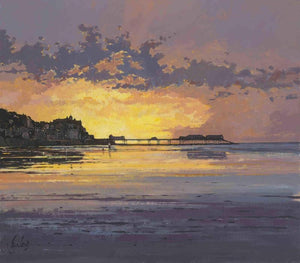 Jeremy Barlow Fine Art Greetings Card - Cromer Sunset, Looking West