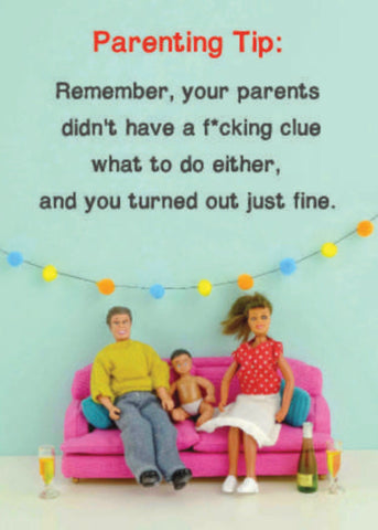 Jeffery and Janice  Greetings Cards - Parenting Tips - Turned Out Fine