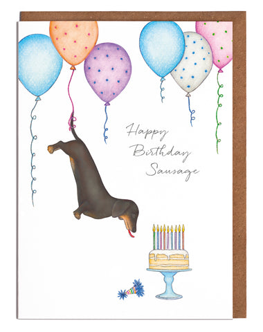 Lottie Murphy Greetings Card - Happy Birthday Sausage - Dachshund Birthday