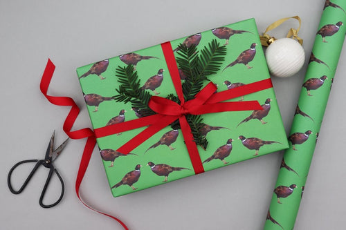 Recyable Christmas Wrapping Paper  - Christmas Pheasant by Nancy and Betty