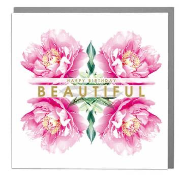 Lola Designs Ltd Greetings Card - A Botanical Peonie Greeting Card - Happy Birthday Beautiful