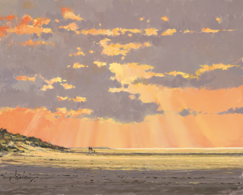 Jeremy Barlow Fine Art Greetings Card - Sunset At Holkham Beach