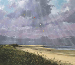 Jeremy Barlow Fine Art Greetings Card - Brancaster Beach, Towards the Clubhouse