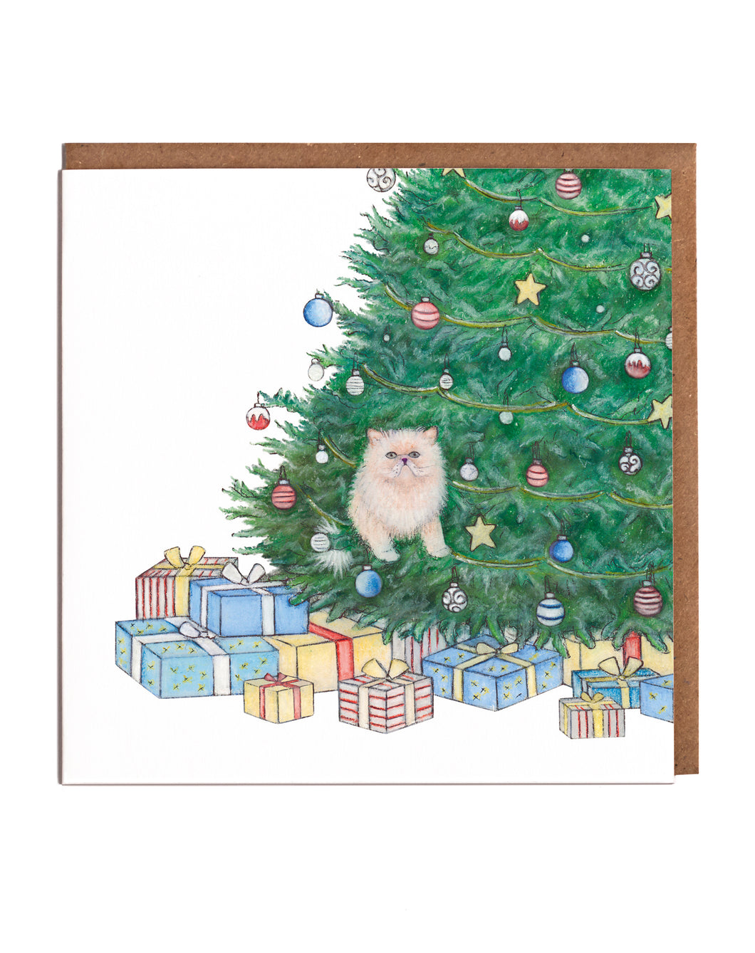 Lottie Murphy Cat In A Christmas Tree Christmas  Card