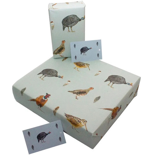 Re Wrapped Recycled Wrapping Paper - Game Birds on Blue - Sophie Botsford