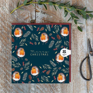Toasted Crumpet Christmas Card - Robin Noir