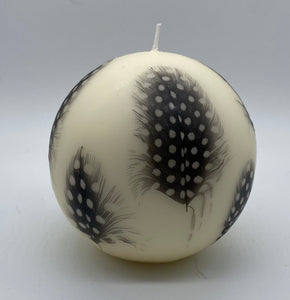 Game Fare Guinea Fowl Feather Ball Candle.