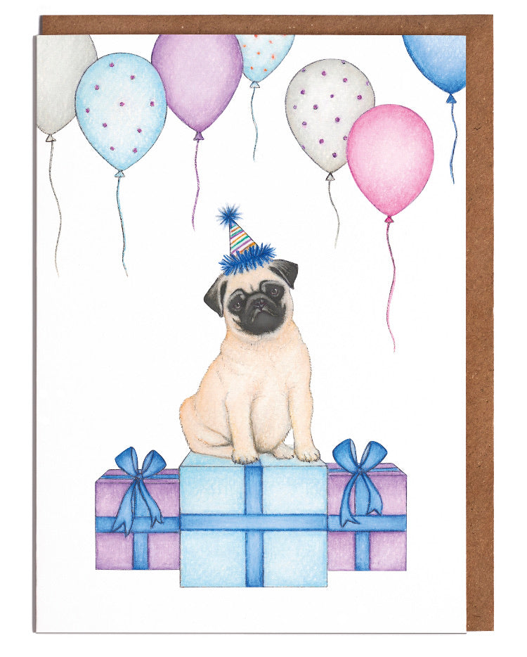 Lottie Murphy Greetings Card - Pug Birthday