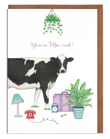 Lottie Murphy Greetings Card - You've Moo-ved