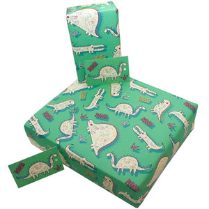 Re Wrapped Recycled Wrapping Paper - Childrens Dinsoaur by Rosie Parkinson