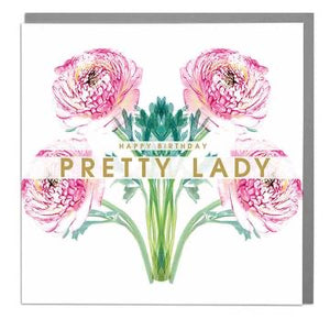 Lola Designs Ltd Greetings Card - A Botanical Ranunculus Greeting Card - Happy Birthday Pretty Lady