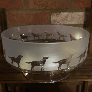 Milford Collection - Amino Glass - Large Engraved Footed Bowl
