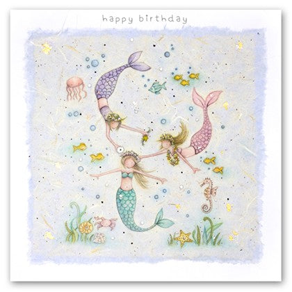 Berni Parker Blank Greetings Card - Little Mermaids