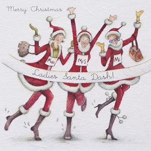 Berni Parker Designs Christmas Card - Santa Dash