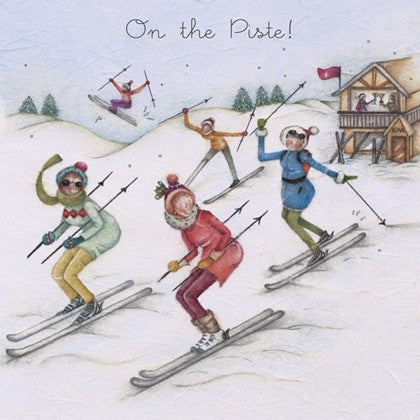 Berni Parker Designs Christmas Card - On The Piste