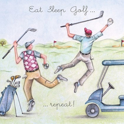 Berni Parker Blank Greetings Card - Eat Sleep Golf Repeat