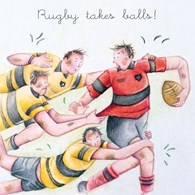 Berni Parker Blank Greetings Card - Rugby Takes Ball