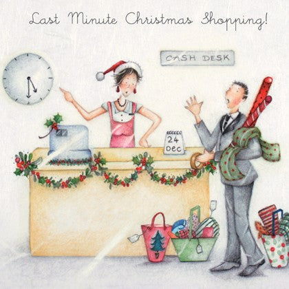 Berni Parker Designs Christmas Card - Last Minute Christmas Shopping