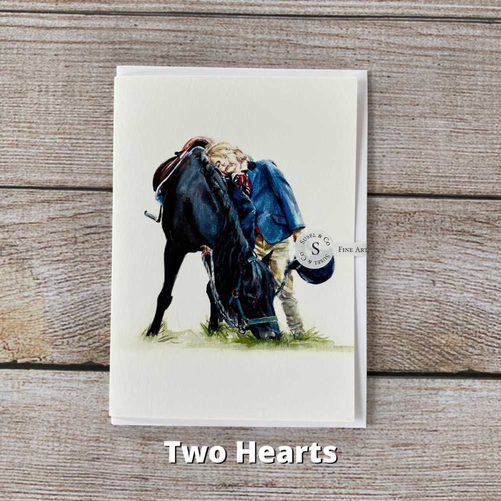 Susel and Co - A6 Blank Horse Greetings Card - Two Hearts