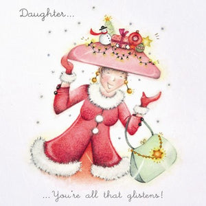 Berni Parker Designs Daughter Christmas Card - All that Glistens